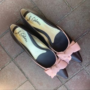 NWT Sam Edelman Brown and Pink Bow Kitten Heels
